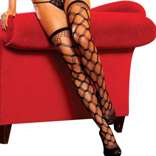 Multi Fence Net Thigh High-Black