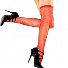 Fishnet Thigh High-Red