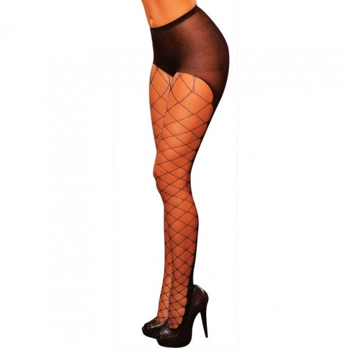 Fence Net With Enforce Opaque Back Pantyhose