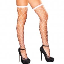 Diamond Net Thigh High-White