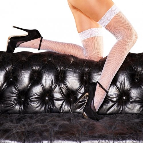 Fishnet Thigh Hi W/6 cm Lace Silicone Stay Up-White