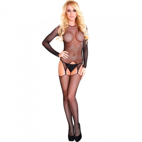 Fishnet Bodysuit With Thigh High