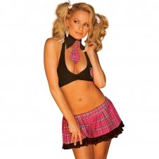 3PC Sexy Schoolgirl With Lace Trim-Black/Pink