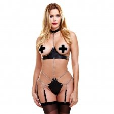 Chain Link Teddy With Garters And Pasties