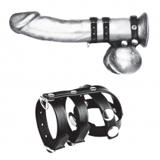 Double Cock And Ball Strap With Leash Lead
