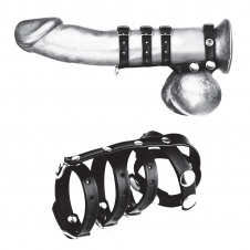Triple Cock And Ball Strap With Leash Lead