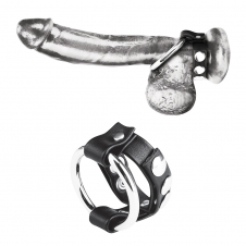 Metal Cock Ring With Adjustable Snap Ball Strap