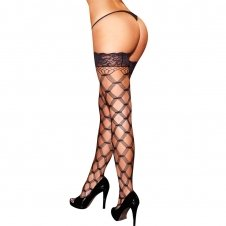Diamond Net Thigh Highs W/ Lace Top