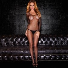 Long Sleeve Crotchless Fishnet Bodystocking