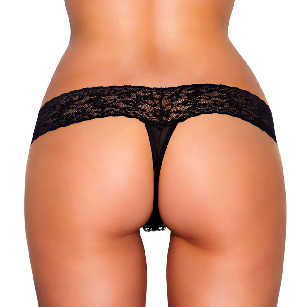 Product Features This thong panty is meant to tempt and tease! The whole lace style.