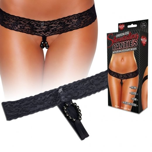 Lace Thong With Stimulating Beads