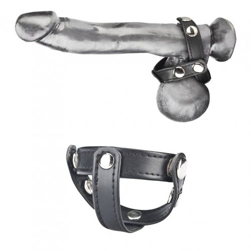 T-style cock ring with ball divider