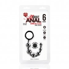 Silicone Anal Beads 6 Balls - Black