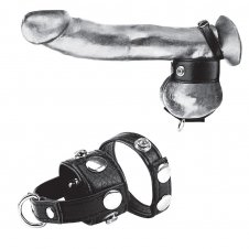"Cock Ring With 1"" Ball Stretcher And Optional Weight Ring"